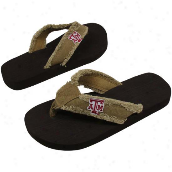 Texas A&m Aggies Unisex Frayed Flip Flops - Khaki