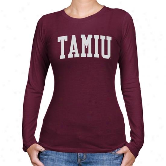 Texas A&m International University Dustdevils Ladies Basic Arch Long Sleeve Slim Fit T-sihrt - Maroo
