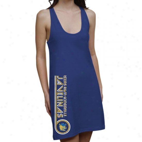 Texas A&m Kingsville Javelinas Ladies Retro Junior's Racerback Clothes - Royal Blue