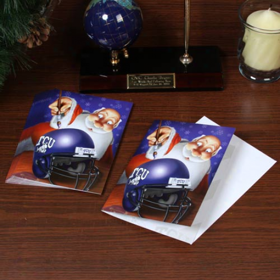 Texas Christian Horned Frogs (tcu) 12-pack Single Santa Painting Design Christas Cards