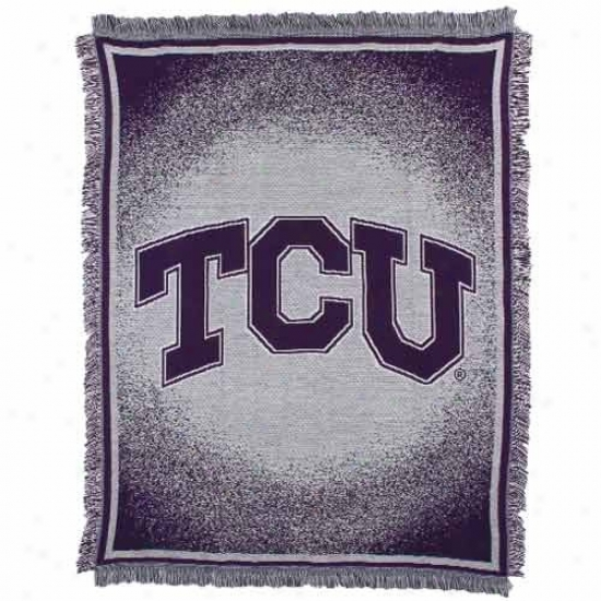 Texzs Christian Horned Frogs (tcu) 48'' X 6O'' Pirple Focus Jacquard Woven Blanket Throw