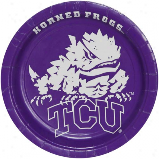 Texas Christian Horned Frogs (tcu) 8-;ack Paper Plates