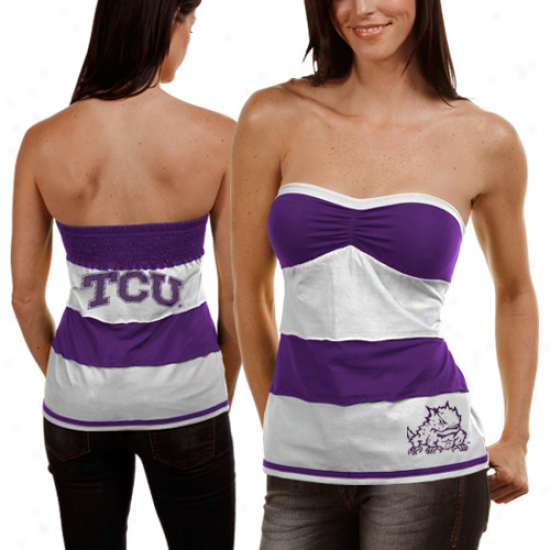 Texas Chrustian Horned Frogs (tcu) Ladies Purple-white Striped Rebound Tube Top