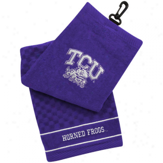 Texas Christian Horned Frogs (tcu) Purple Embroidered Team Logo Tri-fold Towe