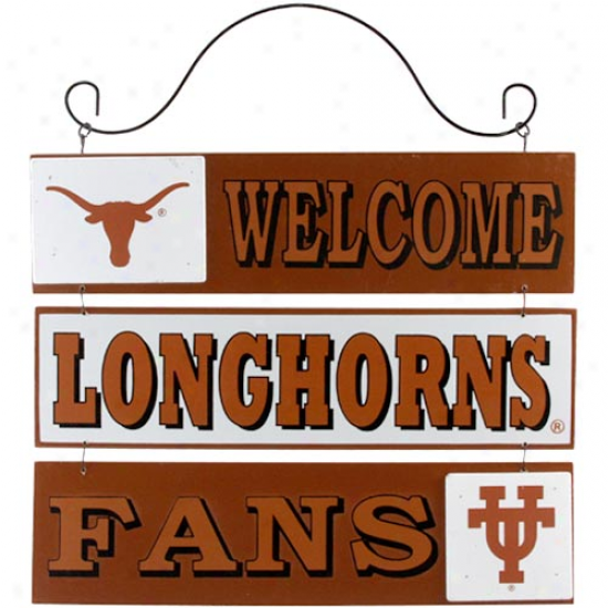 Texas Longhorns 12'' X 9.5'' Wooden Welcome Cognizance