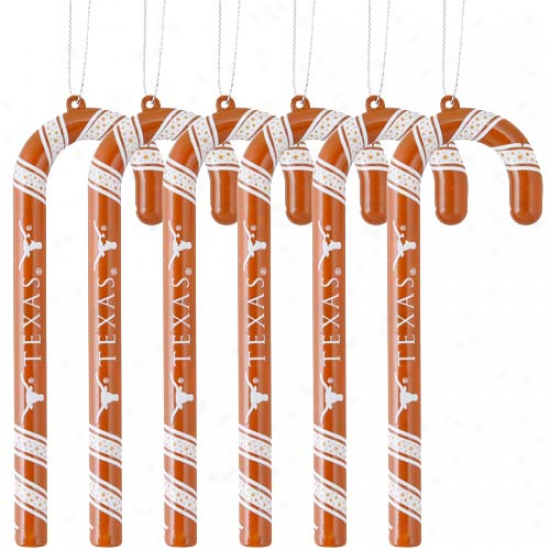 Texas Longhorns 6-pack Team Color Candy Cane Oenaments