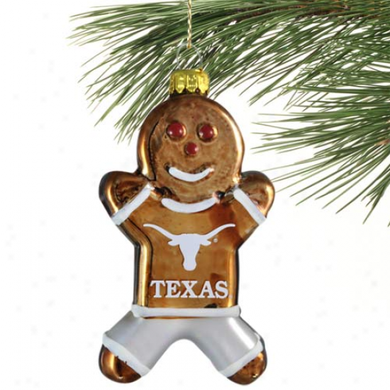 Texas Longhorns Blown Glasd Gingerbread Man Ornament