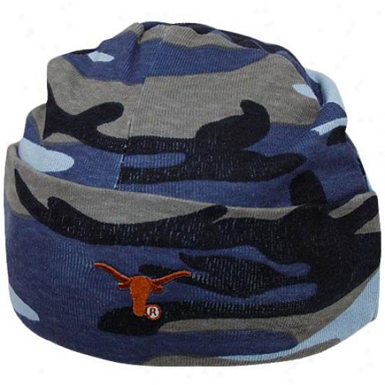 Texas Longhorns Infant Blue Camo Knit Beanie