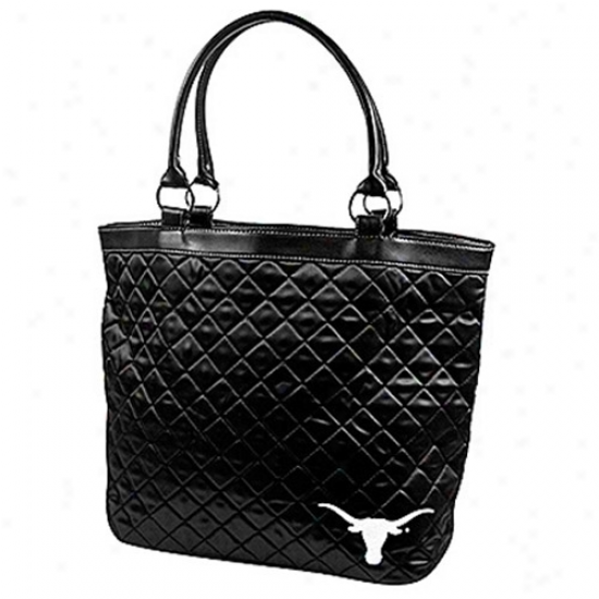 Texas Longhorns Ladies Black Quilted Tote Bag