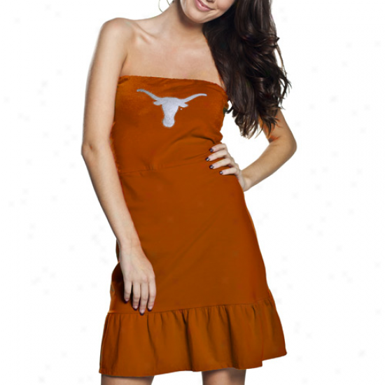 Texas Longhorns Ladies Burnt Orange Team Love Ruffle Strapless Dress
