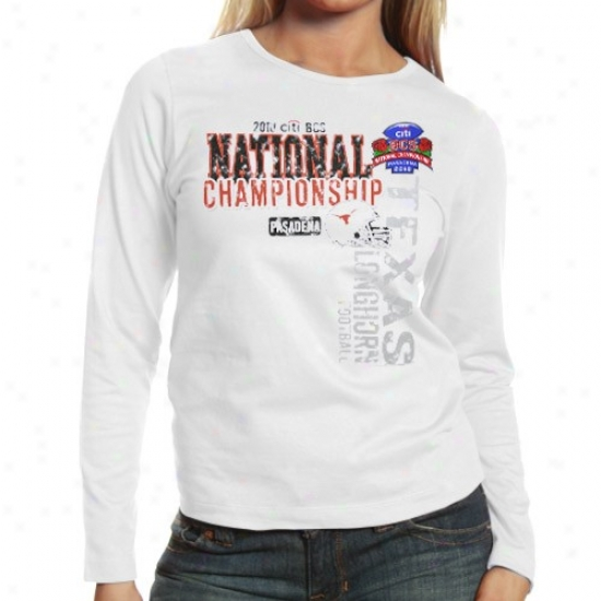 Texas oLnghorns Ladies White 2010 Bcs National Championship Re~ Long Sleeve T-shirt