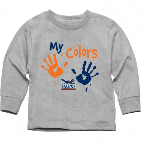Texas San Antonio Roadrunners Toddler My Colors Long Sleeve T-shirt - Ash