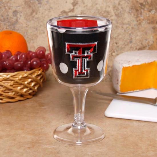 Texas Tech Red Raiders Black Polka Dot Wine Glblet