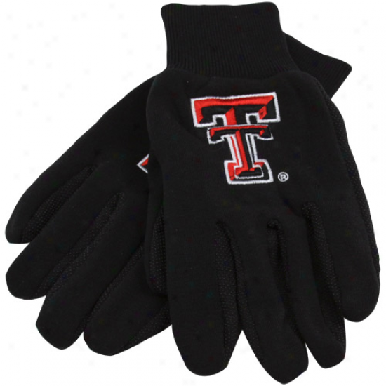 Texas Tech Red Raiders Black Team Work Gloveq