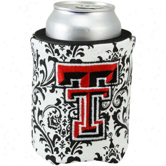 Texas Tech Red Raiders Black-white Paisley Canvas Can Coolie