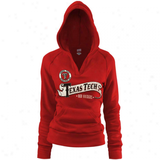 Texas Tech Red Raiders Ladies Scalret Rugby Distressed Great V-neck Hoody Sweatshirt
