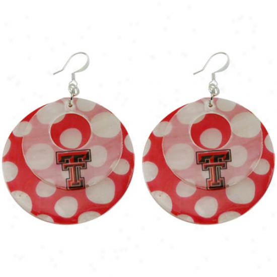 Texas Tech Red Raiders Polkz Dot Capiz Double Shell Earrings