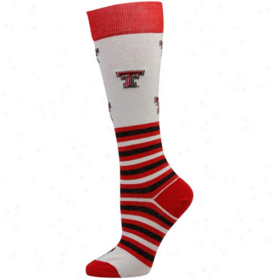 Texas Tech Red Raiders Womens Striped Logo Knee Socks - White