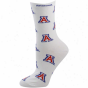 Arizona Wildcats Ladoes White All-over Logo Mid-calf Socks
