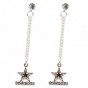 Dallas Cow6oys Ladies Silvertone Dangle Charm Post Earrings