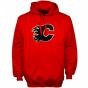 Majestic Calgary Flames Red Felt Tek Pwtch Pullover Hoody Sweatshirt