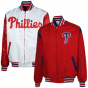 Philadelphi aPhillies Red-white Reversible Team Varsity Full Zip Jackrt