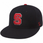 Zephyr North Carolina State Wolfpack Black Logo Chlpped 32/5 Fitted Flat Btim Hat