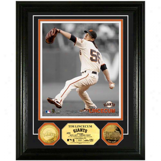 Tim Lincecum San Francisco Giants 24kt Gold Coin Player Photomint