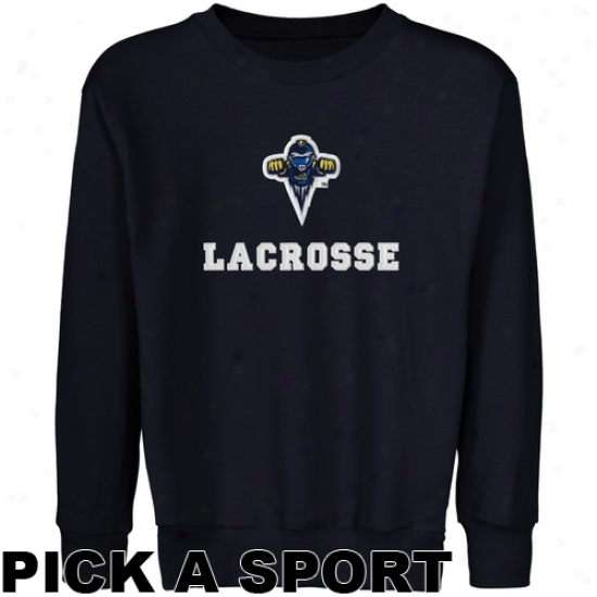 Toledo Rockets Youth Custom Sport Logo Applique Crew Neck Fleece Sweatshirt - Navy Blue