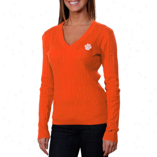 Tommy Hilfiger Clemson Tigers Women's Jenny Cable Knit Sweater - Orange