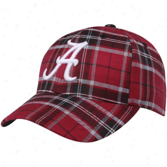 Top Of The World Alabama Crimson Tide Crimson Plaid Metro Adjustable Hat