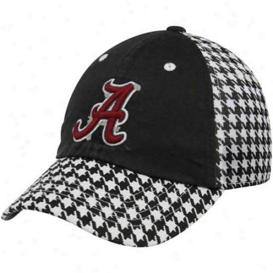Top Of The Worle Alabama Cirmson Tide Houndstooth-black Memento Mesh Back Adjustable Hat