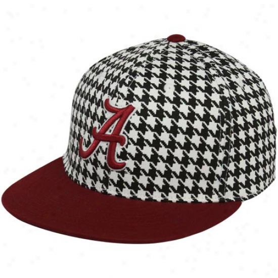 Top Of The World Alabama Crimson Tide Houndstooth-crimson Two-tone King 1-fit Flat Bill Hat