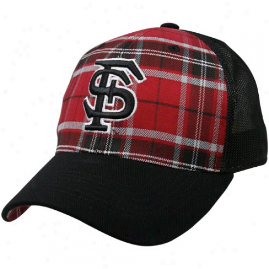 Top Of The Life Florida State Seminoles (fsu) Garnet-black Thrive Plaid One-fit Hat