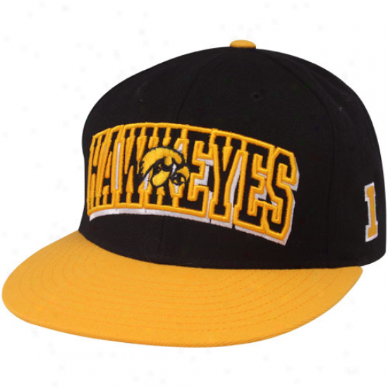 Top Of The World Iowa Hawkeyes Gold-black Varsity Block Snapback Adjusfable Hat