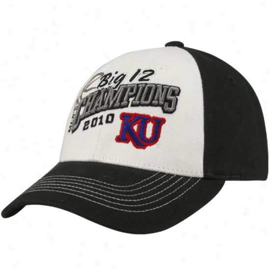 Top Of The World Kansas Jayhawks Charcoal-white 2010 Big 12 Basketball Tournament Champions Adjustable Locker Room Hat