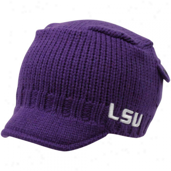 Top Of The World Lsu Tigers Youh Purple Bobby Cable Knit Beanie