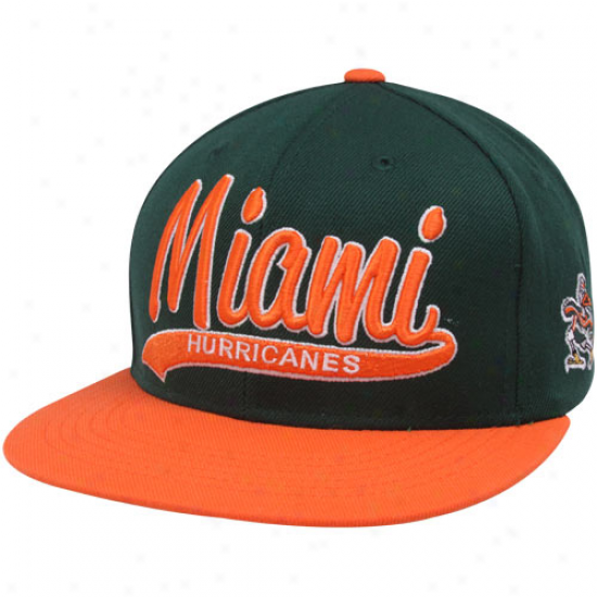 Top Of The World Miami Hurricanes Green-orange 3d Script Snapback Adjustable Hat