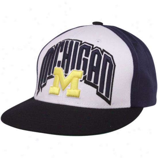 Top Of The World Michigan Wolverines Navy Blue-white-black Trend Snapback Adjustable Hat