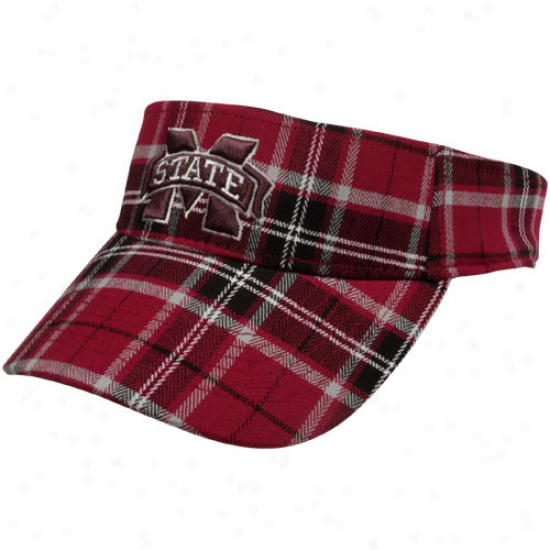 Top Of The World Mississippi State Bulldogs Maroon Metro Plaid One-fit Visor