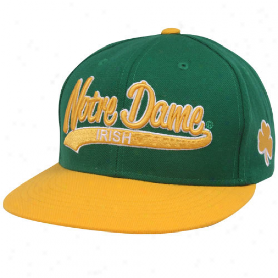 Top Of The World Notre Dame Fighting Irish Green-gold 3d Script Snapback Adjustable Hat
