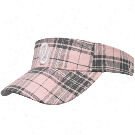 Top Of The World Oklahoma Sooners Ladies Stab Metro Plaid Adjustable Visor