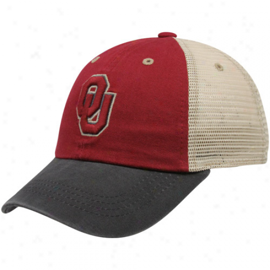 Top Of The World Oklahoma Sooners Youth Crimson-charcoal Mesh Back Wishbone Adjustable Hat