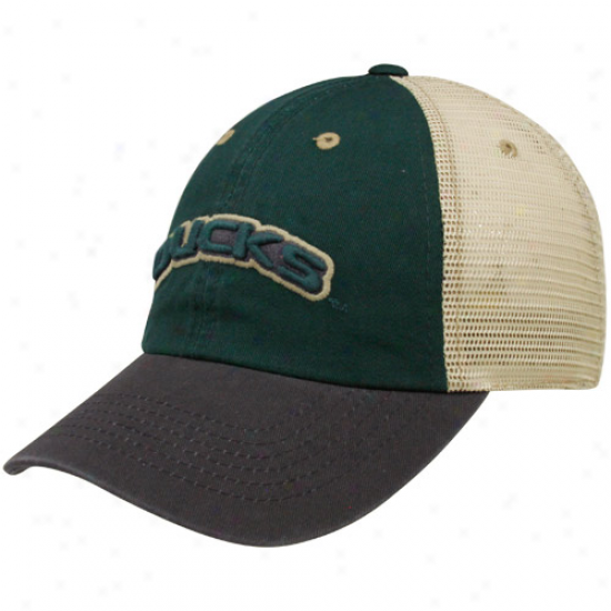 Top Of The World Oregon Ducks Green-charcoal Wishbone Mesh Back Adjustable Hat