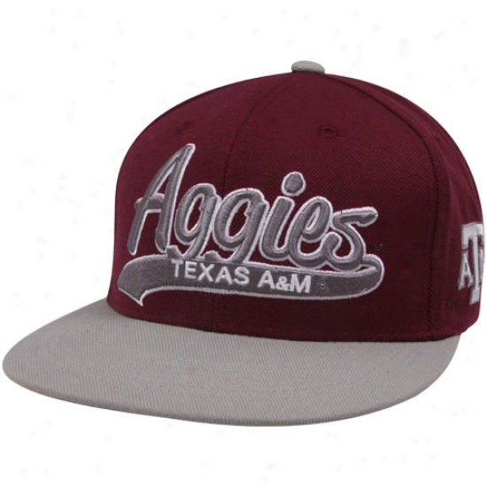 Top Of The World Texas A&m Aggies Maroon-gray 3d Script Snapback Adjustable Hat