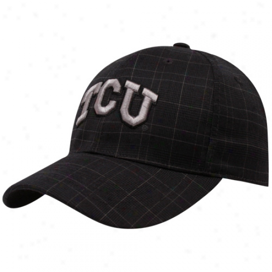 Top Of The World Texas Christian Horned Frogs (tcu) Black Plaid Monument One-fit Hat