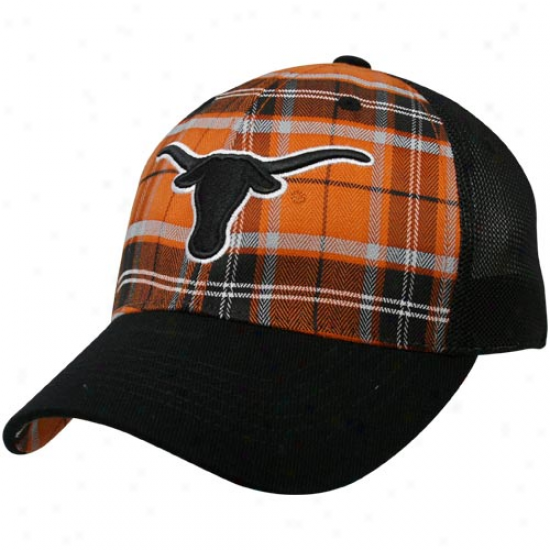 Top Of The World Texas Longhorns Burnt Orange-black Thrive Plaid One-fit Hat