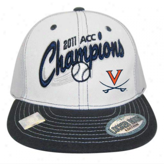 Top Of The World Virginia Caaliers White 2011 Ncaa Acc Baseball Tournament Champions Locker Room Snapback Adjustable Hat