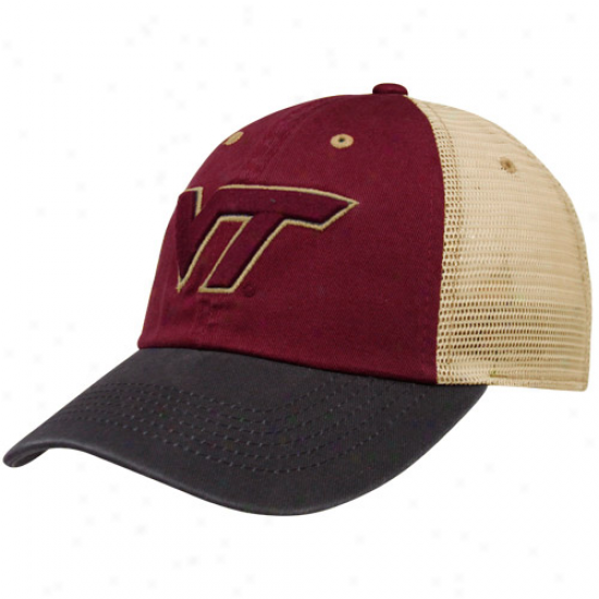 Top Of The Public Virginia Tech Hokies Maroon-charcoal Wishbone Mesh Back Adjustable Hat