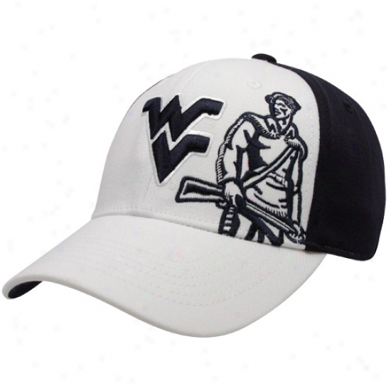 Top Of The World West Virginia Mountaineers White-navy Blue Audible One-fit Hat